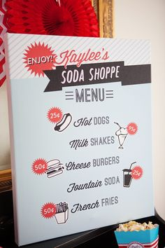 Menu Board from a Retro Soda Shoppe Birthday Party via Kara's Party Ideas - The Place for All Things Party! KarasPartyIdeas.com (37)