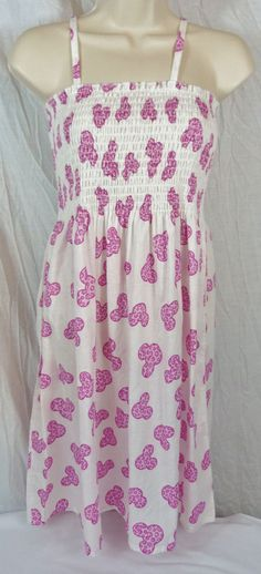 Walt Disney World Park Girls Pink Cheetah Print Mickey Head Sundress Dress XL 16 #Disney #DressyEveryday