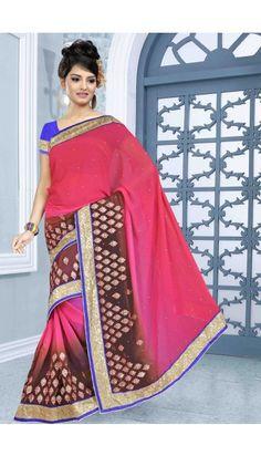 Brown Pink Chiffon Saree with Art Silk Blouse - DMV7463