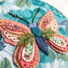 Moth Study no.1 I'm pretty happy with it although I would change a few things. I might still. It needs to rest a bit. Or maybe I do....Made with vintage fabric, wool blend felt, #wonderfilspecialtythread eleganza @suespargo floss. My original design.