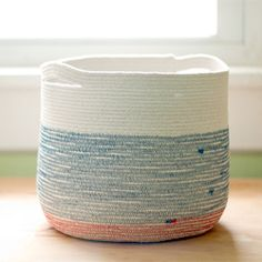 Cotton cord and thread in a zig-zag stitch is all it takes to make this sturdy vessel! #craftgawker