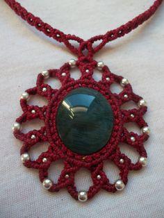 Manto Huichol Obsidian crimped in Mandala macramé by LunaticHands