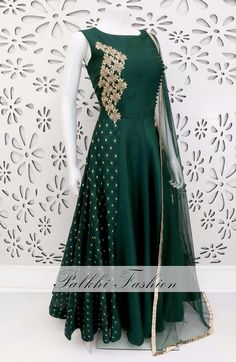 PalkhiFashion Exclusive Bottle Green Soft Silk Outfit with Elegant Hand Work