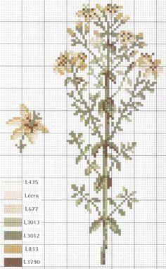 TŘEZALKA. Just Cross Stitch, Cross Stitch Flowers, Cross Stitch Charts, Cross Stitch Patterns, Cross Stitching, Cross Stitch Embroidery, Embroidery Patterns, Flora Botanica, Botanical Flowers