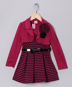 Take a look at this Fuchsia Stripe Dress Set by Just Kids on #zulily today!