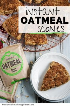 These sweet and tender instant oatmeal scones are baked with a crunchy cinnamon sugar topping and made versatile by using instant oatmeal packets! Oatmeal Scones, No Bake Oatmeal Bars, Oatmeal Breakfast Bars, Breakfast Dessert, Breakfast Recipes, Muffin Recipes, Breakfast Ideas, Instant Oatmeal Cookies, Instant Oatmeal Recipes