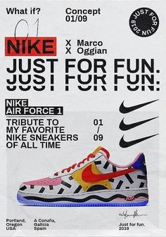 Nike – Just For Fun on Inspirationde Graphic Design Posters, Graphic Design Typography, Graphic Design Illustration, Dm Poster, Poster Layout, Gfx Design, Layout Design, Typography Layout, Typography Poster