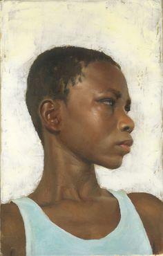 """Orvida in Profile"" (Haiti series) - Gregory Mortenson {contemporary figurative art female head black woman face portrait art painting}"