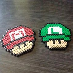 Mario and Luigi mushhroom hama beads by hae_urusai Hama Beads Mario, Diy Perler Beads, Pearler Beads, Fuse Beads, Melty Bead Patterns, Pearler Bead Patterns, Perler Patterns, Beading Patterns, Luigi