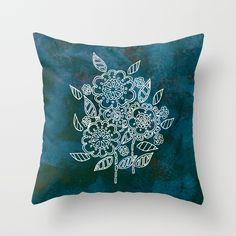 Blue flowers Throw Pillow by seelas Blue Flowers, Handicraft, Throw Pillows, Craft, Toss Pillows, Cushions, Arts And Crafts, Decorative Pillows, Decor Pillows