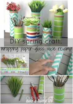 Decorating for spring with silk flowers, succulents, and glass vases.  A simple DIY craft for the home! To see more visit- http://ourhousenowahome.com/