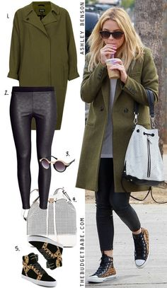 Dress by Number: Ashley Bensons Olive Coat and Leopard High Tops - The Budget Babe