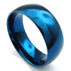 TEMEGO Jewelry Mens Stainless Steel Ring, 8mm Classic Polished Finish Round Band, Blue >>> This is an Amazon Affiliate link. See this great product.