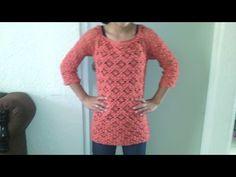 como hacer una blusa de manga 3/4 en crochet paso a paso primera parte - YouTube