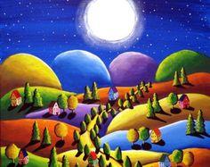Paix sur terre 5 maisons Hills Folk Art par reniebritenbucher