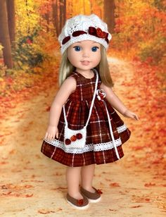 Excited to share this item from my shop: Fall outfit for Wellie Wishers doll American Girl Clothes, Girl Doll Clothes, Doll Clothes Patterns, American Girls, Ag Dolls, Girl Dolls, Doll Toys, Crochet With Cotton Yarn, American Girl Wellie Wishers