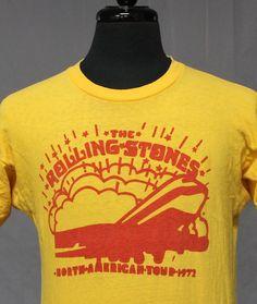 vintage 1972 THE ROLLING STONES tour T SHIRT medium 70s rock ORIGINAL