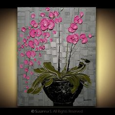 Art: Pink Orchid by Artist Susanna Shap. Inspiration for painting over a textured surface such as woven paper or a paper mosaic