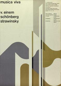 Musica Viva | V. Einem - Schönberg - Strawinsky - 11. Volkskonzert der Tonhalle-Gesellschaft Zürich - Grosser Tonhallesaal-Plakat