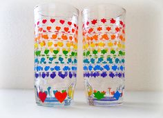 Rainbow Stars and Hearts Glasses  Juice  by NocturnalPandie