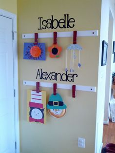 Kids Art Gallery Wall - from:  The kids Friendly Home Blog