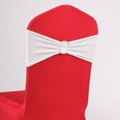50PCS Spandex Chair Sashes Bows Elastic Chair Bands With Buckle Slider Sashes Bows For Wedding Decorations sy66 (White)