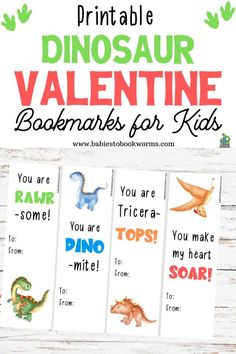 Babies to Bookworms offers printable dinosaur Valentine bookmarks for kids! Print on cardstock, cut into 4 bookmarks, and spread the love! Valentines Day Book, Dinosaur Valentines, Homemade Valentines, Valentines For Kids, Valentine Day Crafts, Printable Valentine, Valentine's Day Crafts For Kids, Activities For Kids, Preschool Lessons
