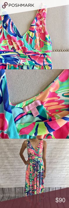 Lilly Pulitzer Dress Colorful and flowy dress. Stretch material and an asymmetric hem. Lilly Pulitzer Dresses Asymmetrical