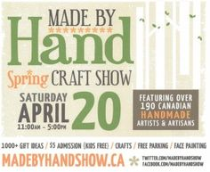 Made By Hand Show - April 20, 2013 features a variety of handmade artists.  My favourite vendors are always the food ventors.  Craft show ontario