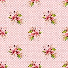 Vintage print -Parson's Pink Roses and Dots larger scale fabric by art_is_us on Spoonflower - custom fabric