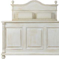Holzbett in Antik weiß, leicht vanillefarben gewischt: Holzstruktur