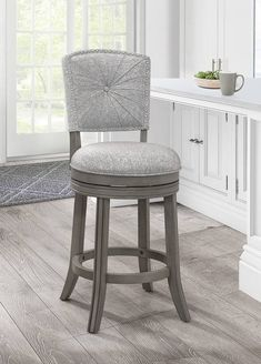 Santa Clara II Swivel Counter Stool in Antique Gray - Hillsdale Furniture 4841-829 Counter Stools With Backs, Swivel Counter Stools, Counter Height Bar Stools, Bar Counter, Island Stools, Kitchen Stools, Kitchen Dining, Kitchen Island, Santa Clara