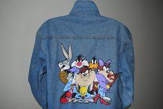90's Hipster Dressed Looney Tunes Jean Jacket Vintage by VTGdallas, $59.99