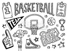 Basketball Doodles Royalty Free Stock Vector Art Illustration