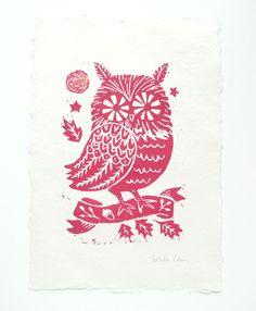 Owl in woodland- Original Linocut print