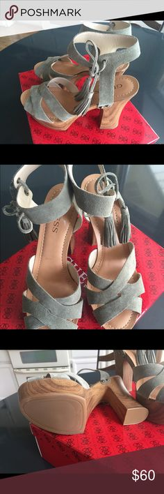Shoes Quess dark green suede chunky heels perfect for the fall trend. Never worn Quess Shoes Heels