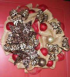 Burlap and Animal Print Holiday Wreath by CorinnesCottage on Etsy, $65.00