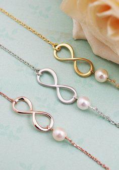 Infinity and Swarovski Pearl bracelet infinity