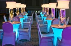 colored lights under tables, spandex chair covers
