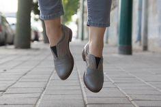 Fred scarpe Oxford in pelle grigia cuoio stringate di BangiShop
