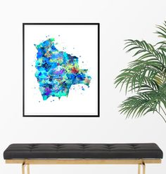 Bolivia Watercolor Map 2 Art Print Poster Wall Art by ZuzisStudio