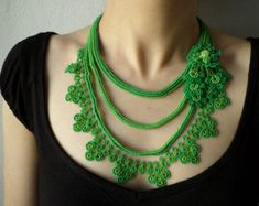 New to irregularexpressions on Etsy: Beaded crochet statement necklace with lime green and shamrock green seed beads and crocheted flowers USD) Bead Crochet, Crochet Lace, Crochet Earrings, Lace Necklace, Beaded Statement Necklace, Collar Verde, Red Turquoise, Fabric Beads, Green Cotton