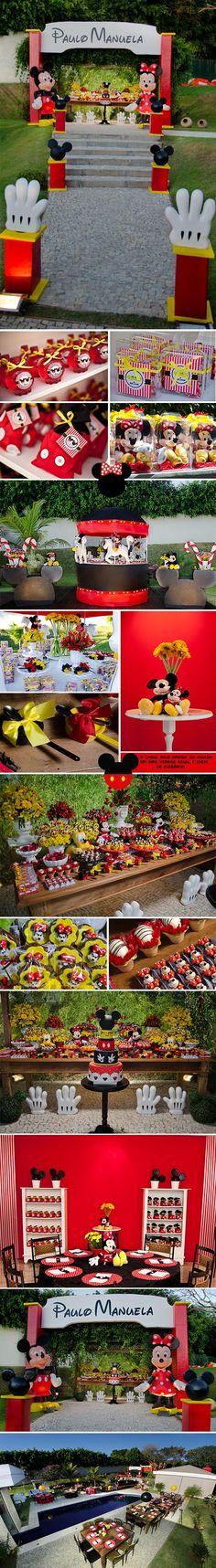 Minnie- mickey festa dos sonhos Mickey Mouse Theme Party, Mickey Mouse Decorations, Mickey Mouse Baby Shower, Fiesta Mickey Mouse, Mickey Mouse Clubhouse Birthday, Mickey Mouse Birthday, Minnie Mouse Party, Disney Parties, Mickey Mouse Clubhouse