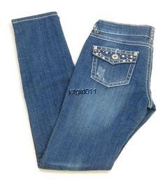 Womens Silver Diva Jeans Distressed Low Rise Embellished Skinny 7 30 x 31.5   #SilverDiva #SlimSkinny