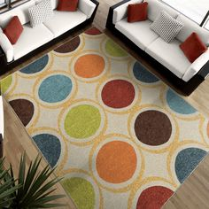 Found it at Wayfair - Color Circles Ivory Area Rug
