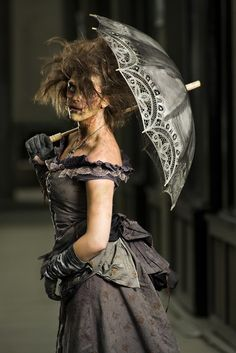 Steampunk zombie lady. You could do a girl like this too. I'd do it happily haha @Aimee Smith