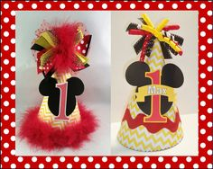 Personalized Twin Minnie and Mickey by DoodlesDotsnDimples Birthday Party Hats, Mickey Birthday, Hat Making, Chevron, Card Stock, Minnie Mouse, Twins, Doodles, Dots
