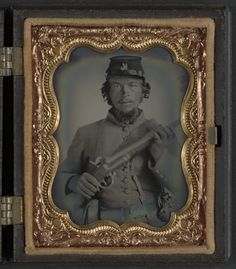 (c. 1861-1865) Soldier in Union uniform and Company K hat with musket