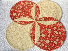 Christmas Table Runner Quilt - Xmas Table Topper Centerpiece - Snowflakes, Poinsettia - Red, Cream, Gold. $35.00, via Etsy.