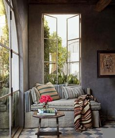 Find home décor inspiration at Architectural Digest. Everything you'll need to design each and every room in your house, from the kitchen to the master suite. Architectural Digest, Casa Hygge, Steel Doors And Windows, Big Windows, French Windows, Daybed Covers, Striped Room, Malibu Homes, Grey Room